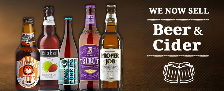 We now sell Beer and Cider